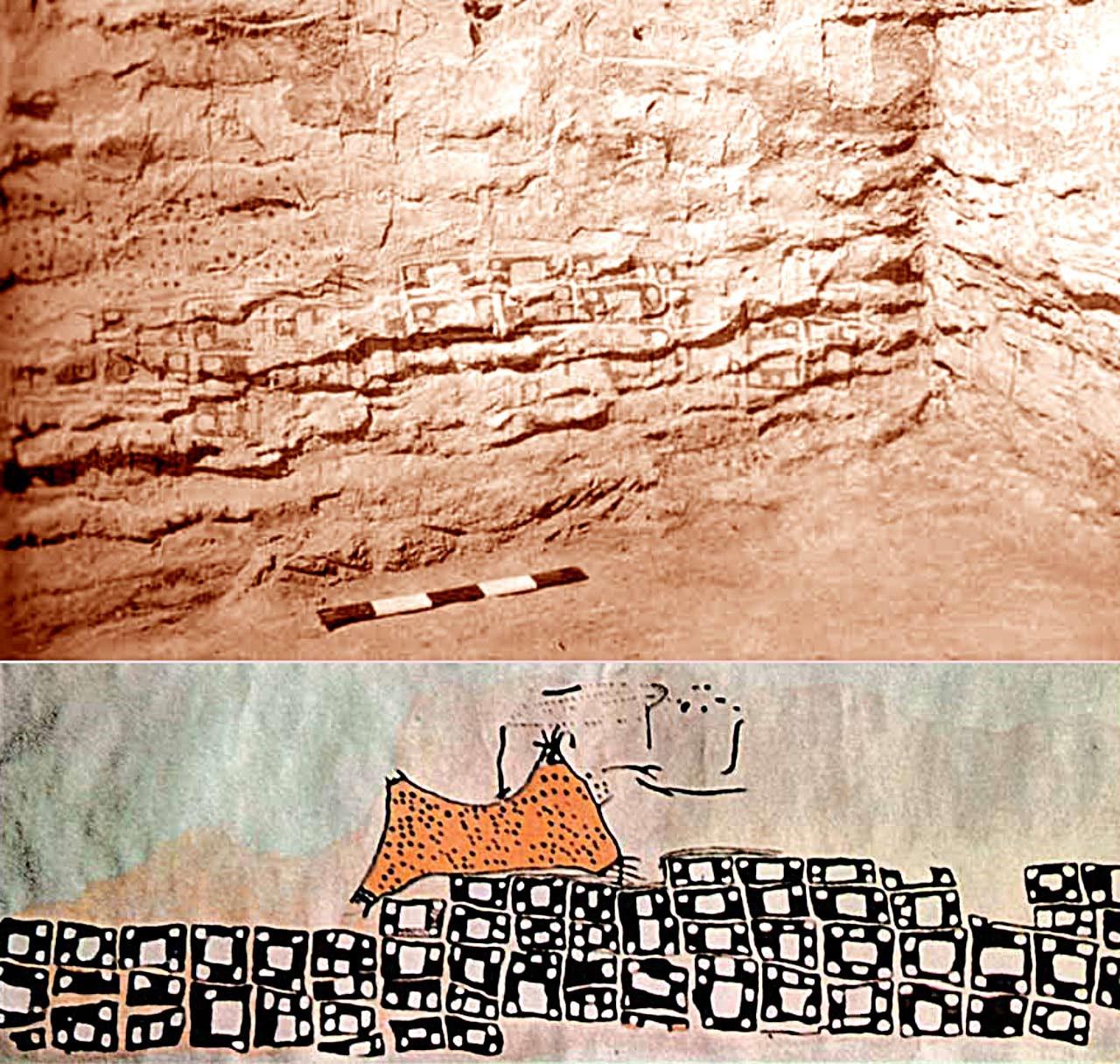 Li Warê Niştebûnê Çatalhoyuka ku aîdî Serdema Neolîtîk a beriya niha 8.500s salan e, di sala 196an de ji aliyê arkeologê Ingilîz James Mellart ve hatiye kolandin; plana niştecihbûnê ya li ser dîwarekî dixuyê. (Li ser in-situ li bin xêz)