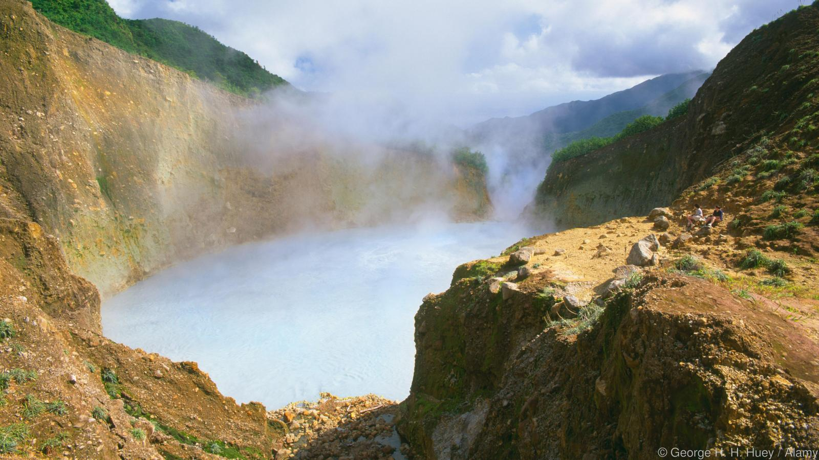 Boiling Lake with hikers at the center of Morne Trois Pitons National Park Dominica Windward Islands Lesser Antilles Caribbean