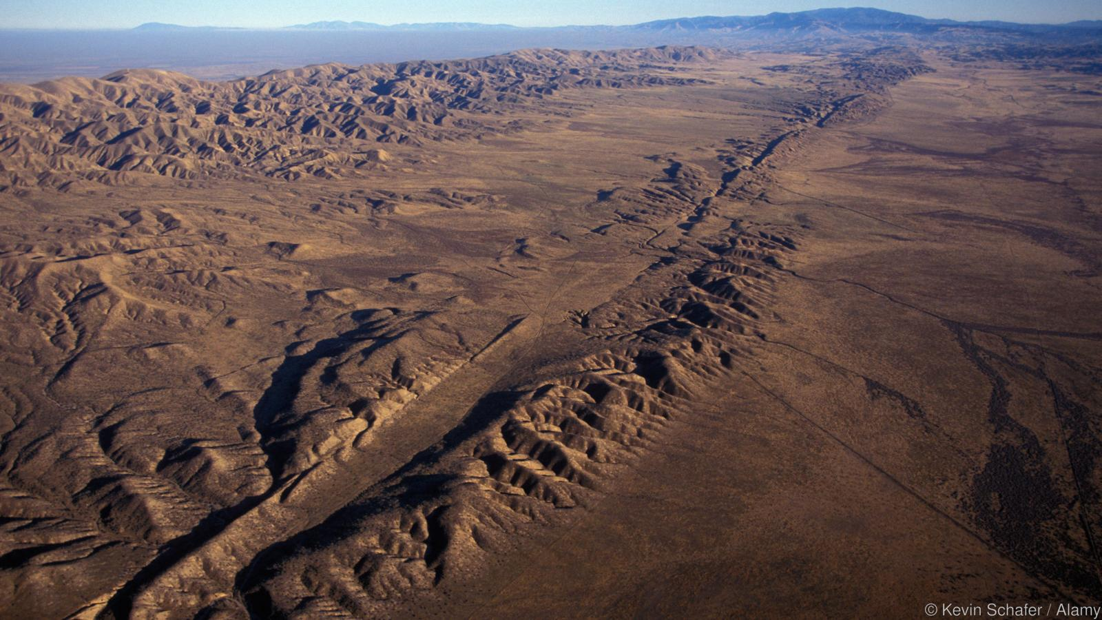 SAN ANDREAS FAULT, Aerial of fault in Carrizo Plain, Central California. Image shot 2004. Exact date unknown.
